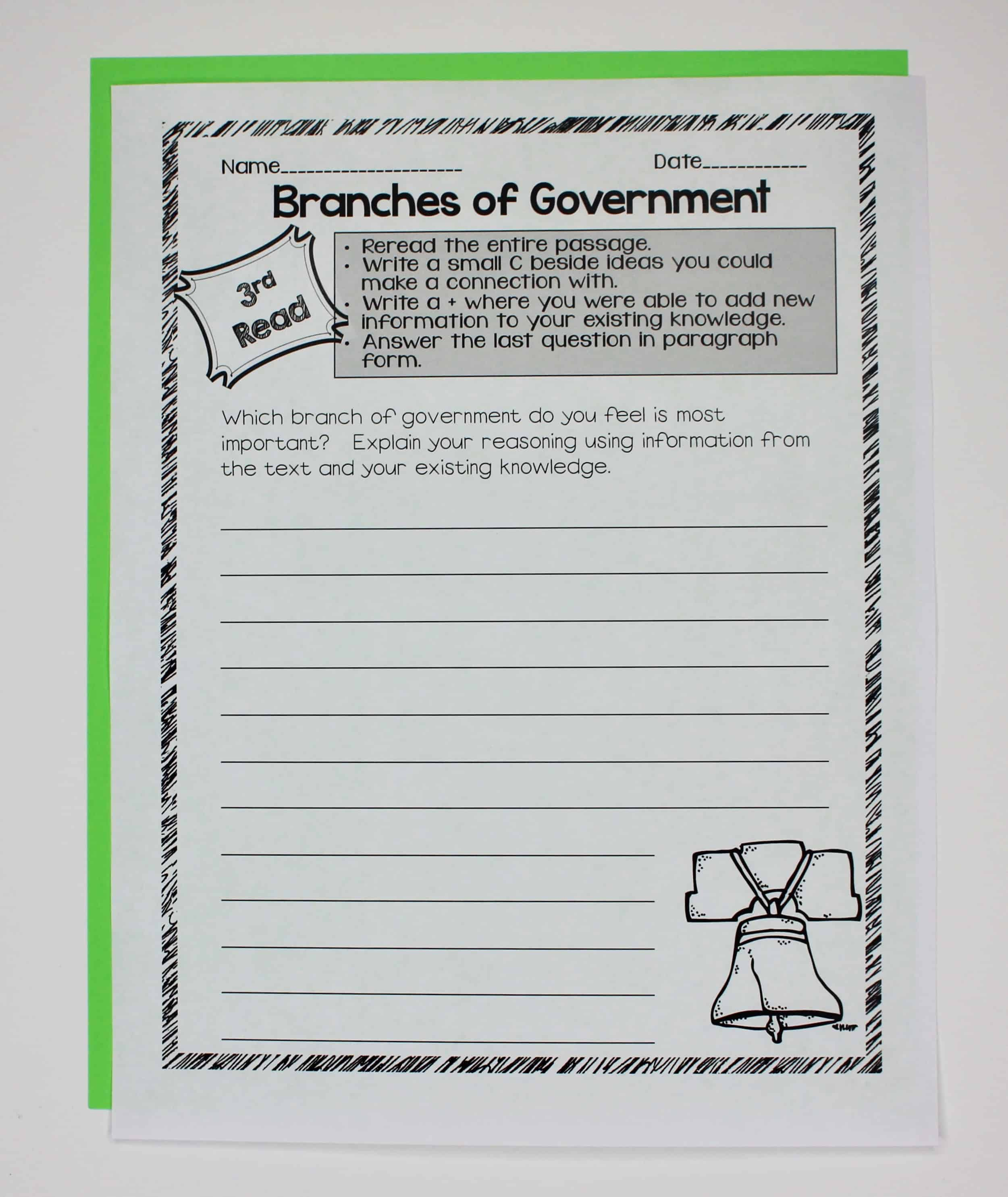 Government Close Reading Amp Interactive Notebook