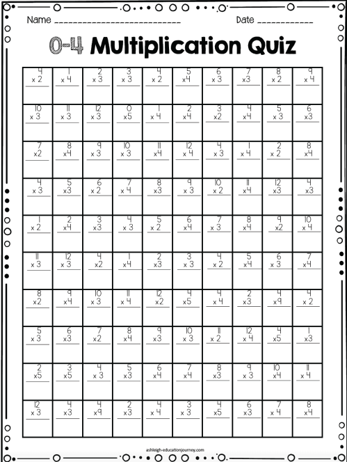 small resolution of multiplication timed test - Ashleigh's Education Journey