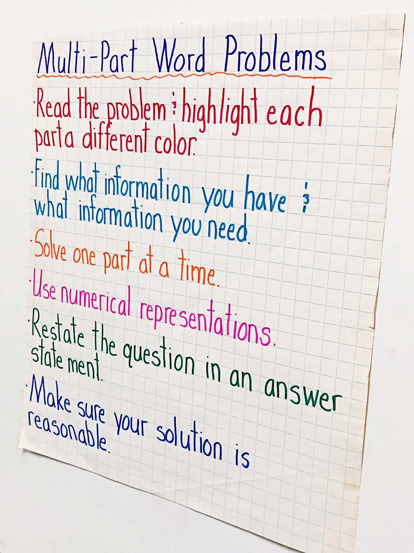 Teaching Multi Step Word Problems