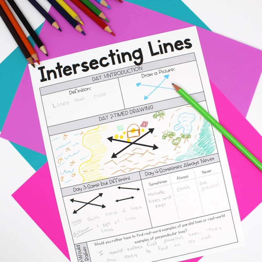 Worksheet For Learning About Intersecting Lines On Table