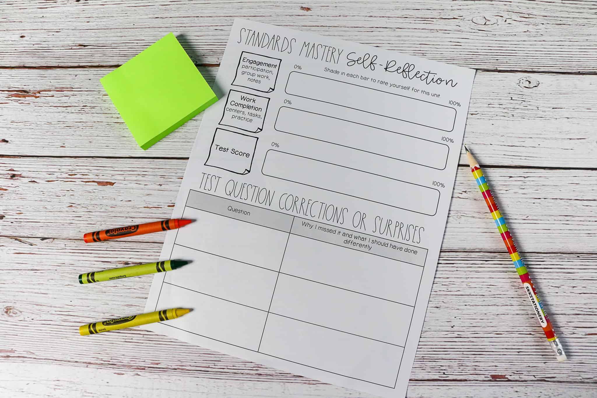 Student Worksheet For Self Reflection
