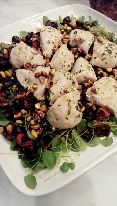 Private chef recipe developer ashleigh grange rhn tea poached chicken with cherries pistachios vinaigrette on mixed greens forumfinder Choice Image