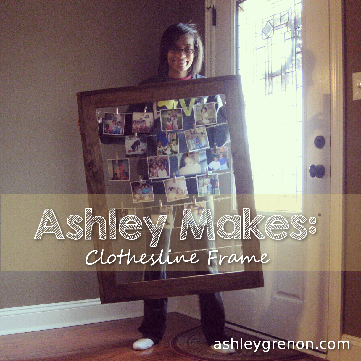 DIY Clothesline Picture Frame (Plans by Ana White) - Handmade with ...