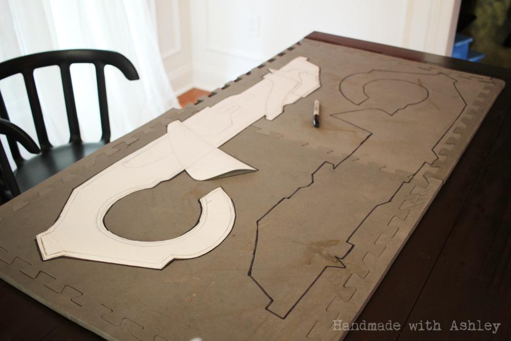 Rocket template traced onto 1/2 EVA foam floor mats