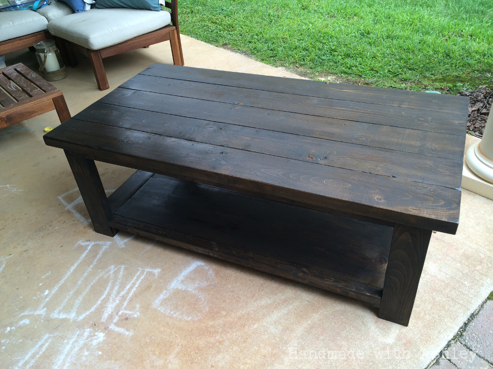 The coffee table is complete - DIY Rustic X Coffee Table (Plans By Ana White) - Handmade With Ashley