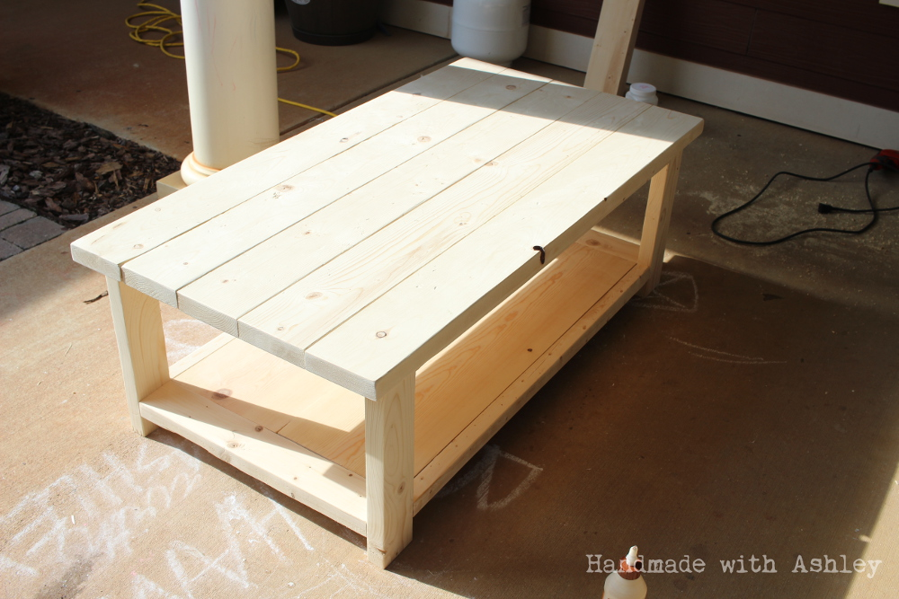 DIY Rustic X Coffee Table (Plans by Ana White) - Handmade with Ashley