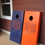 Auburn themed cornhole boards
