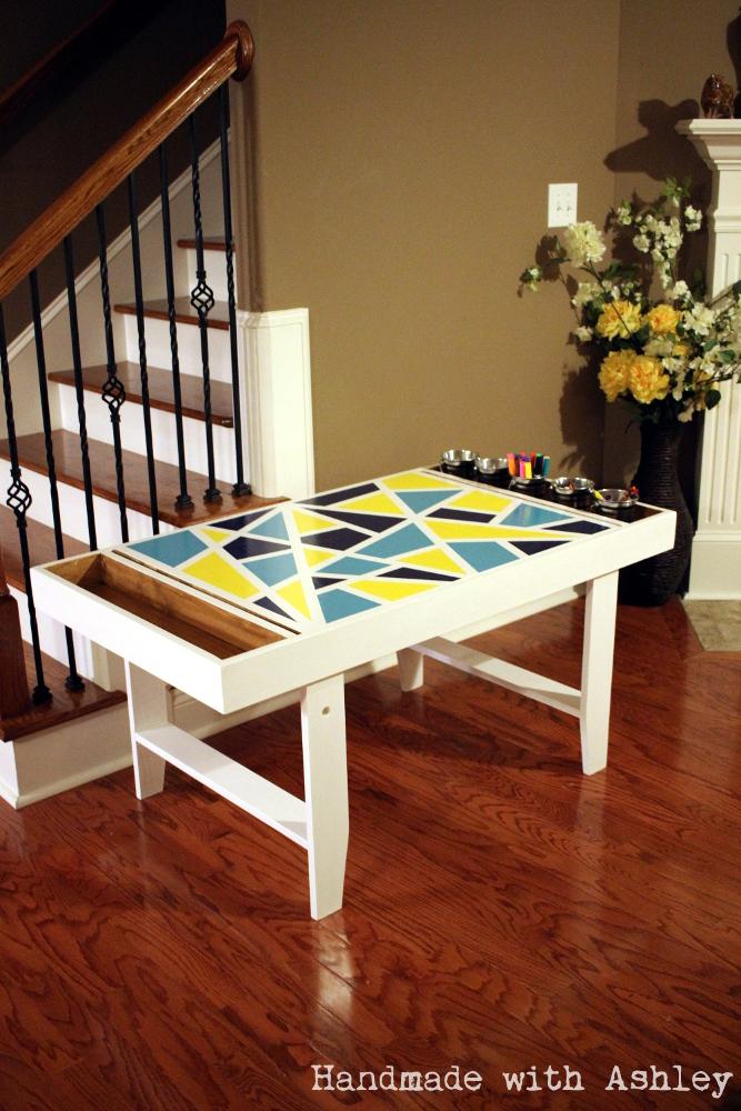 diy geometric kids art table