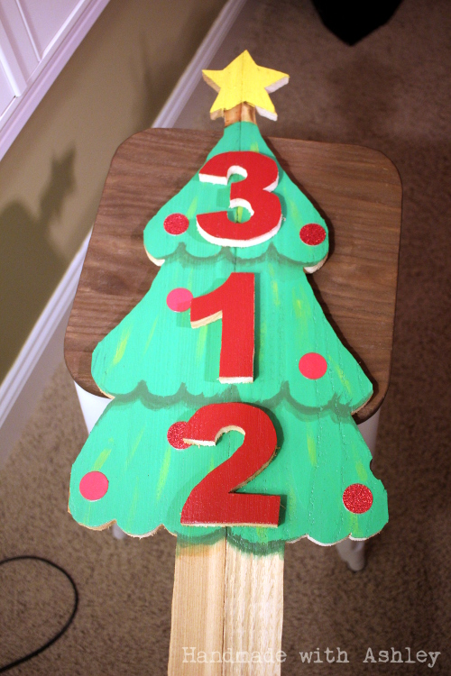 Wooden Christmas Tree Address Sign