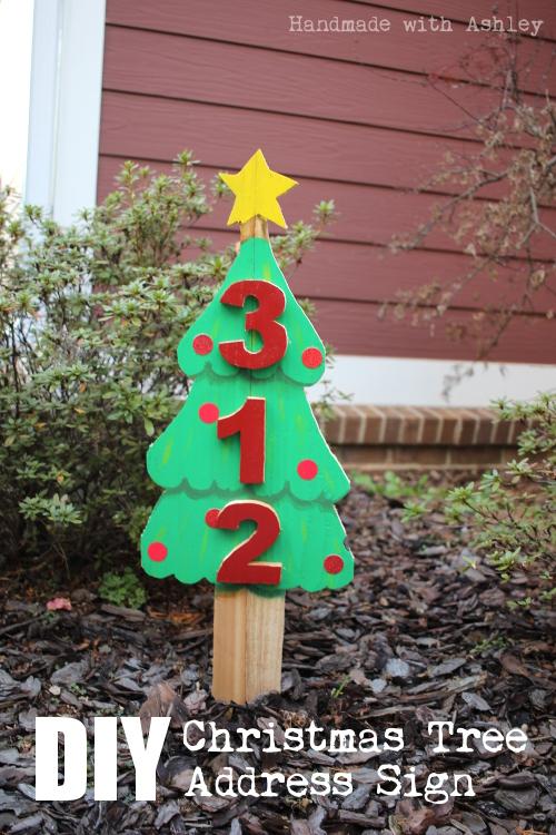 DIY Christmas Tree Address Sign