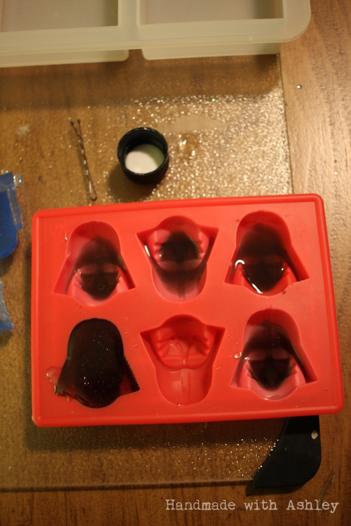 Pouring resin into a Darth Vader ice mold