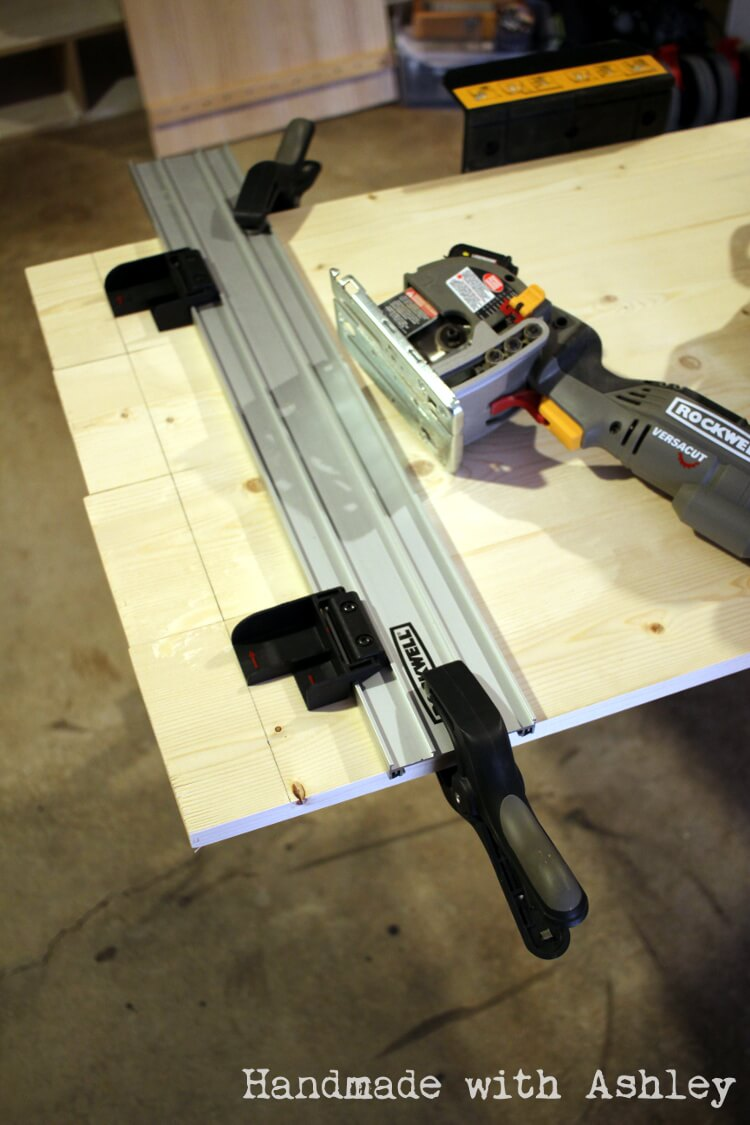 Using the Rockwell Versa Cut saw (with track guide) to trim up the boards