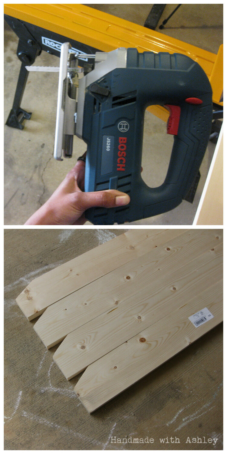 Tapering the table legs with a jigsaw