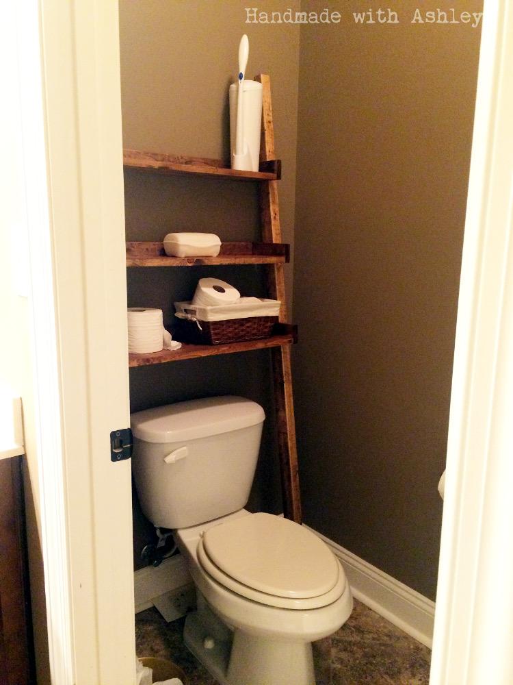 DIY Leaning Ladder Bathroom Shelf Part 59