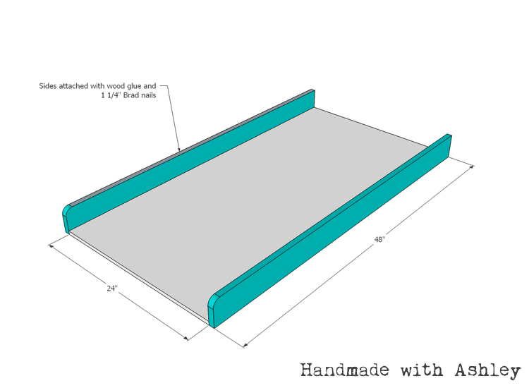 Attach long side frames to the plywood base