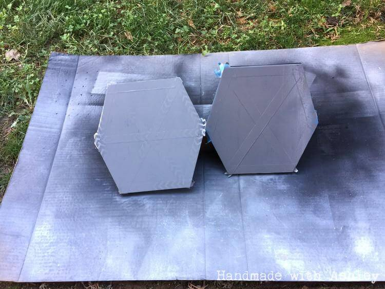 Spray painting the TIE Fighter wings gray