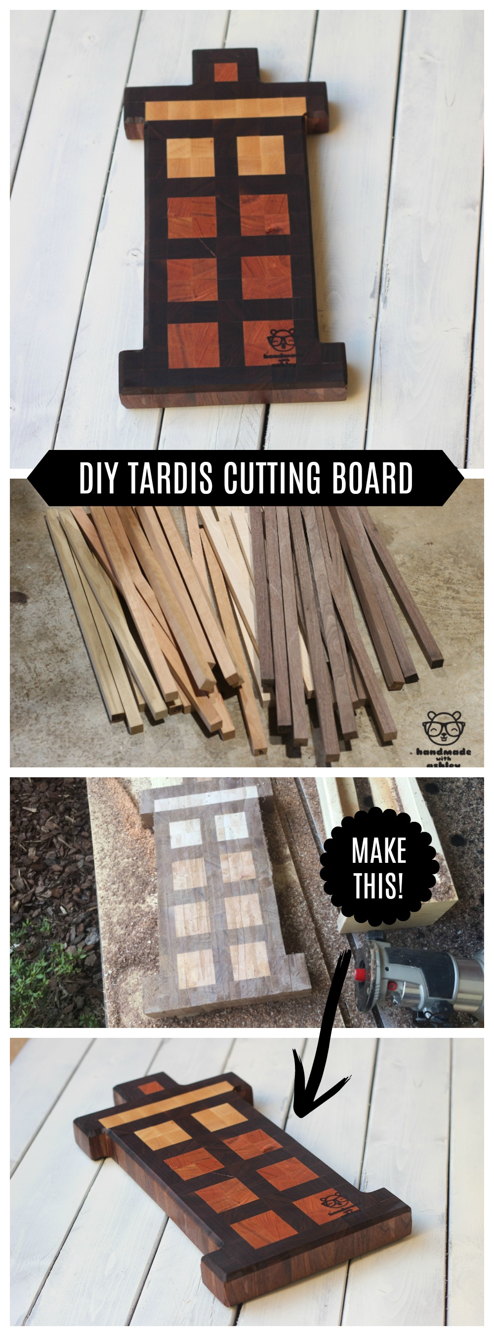 DIY Tardis End Grain Cutting Board