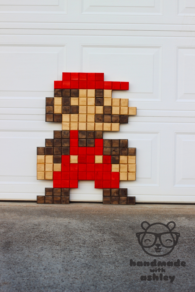Diy giant pixel mario wall art handmade with ashley for 8 bit decoration