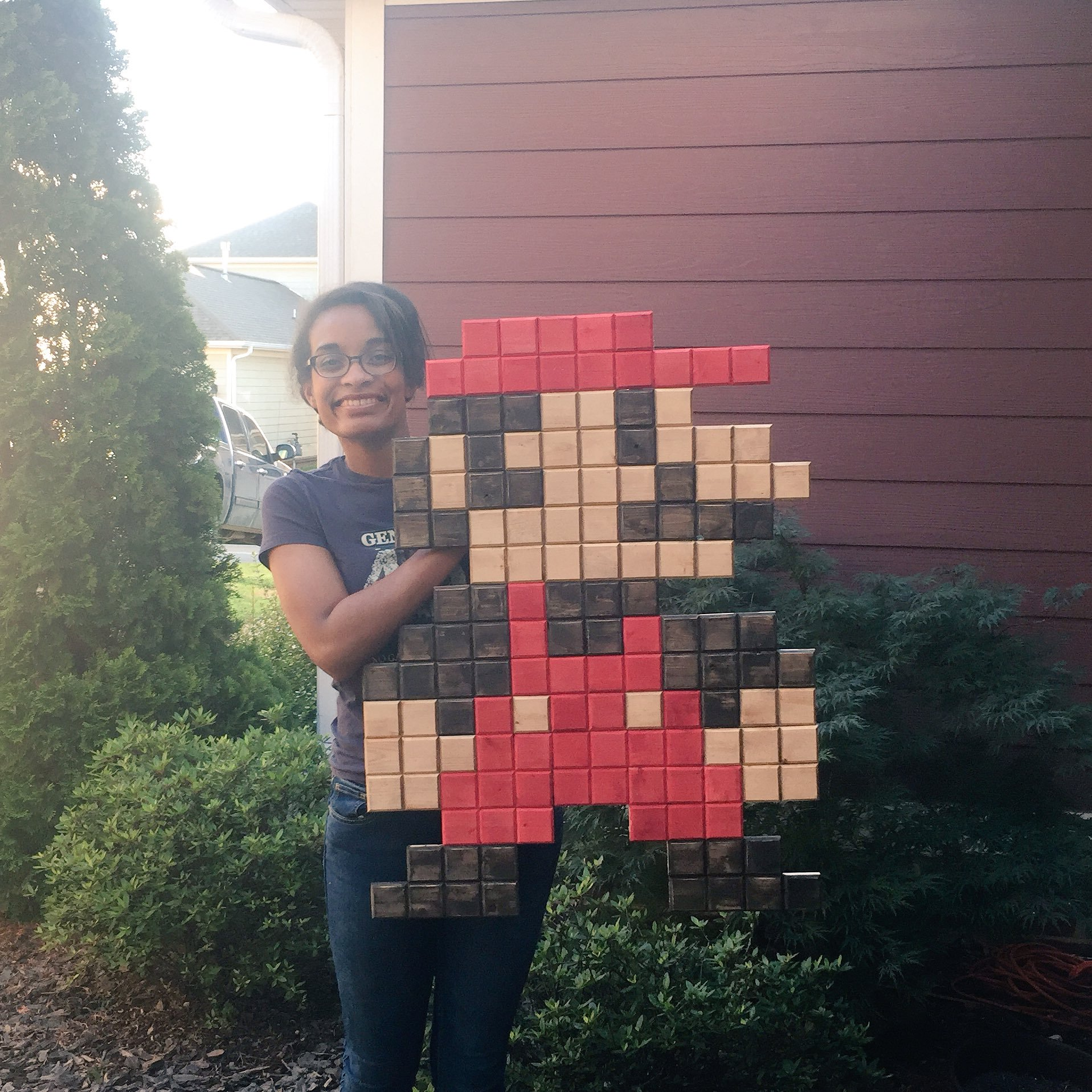 DIY Mario Pixel Wall Art Sign Tutorial | Me holding the giant pixel Mario! He's huge!