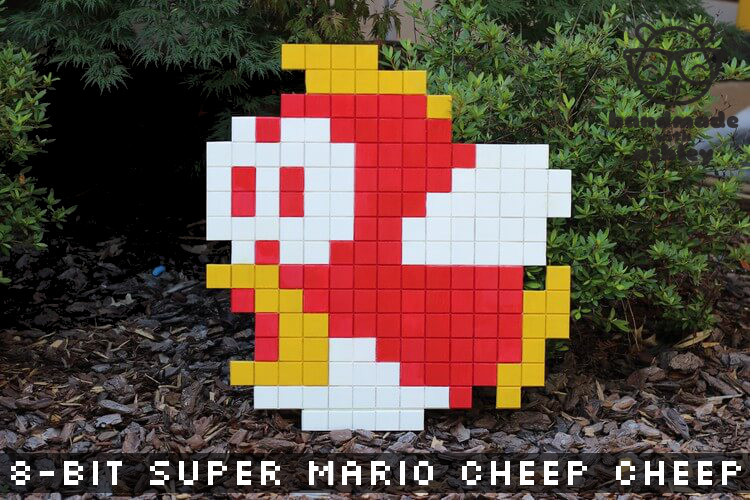 8 Bit Super Mario Bros Cheep Cheep Wall Art Tutorial
