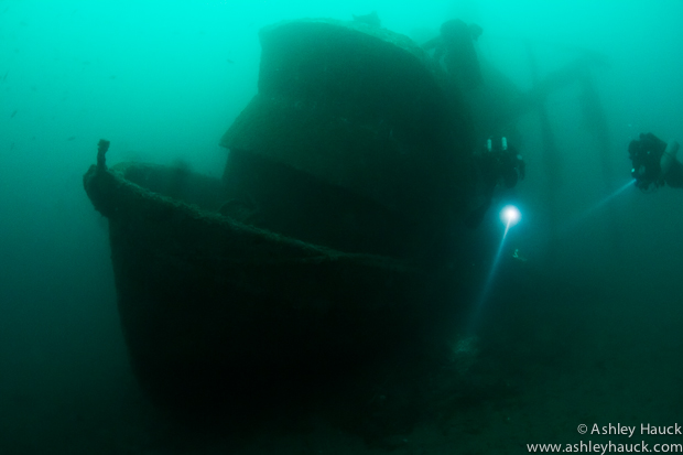 Rebreather divers at the wreck of the Infidel