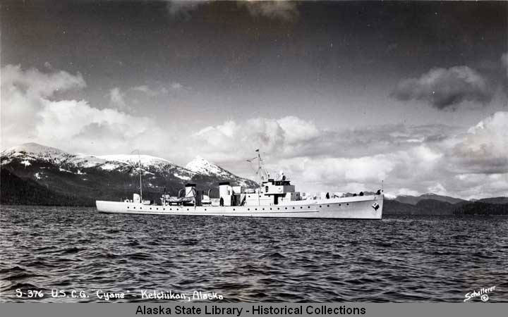 "The USCG Cutter Cyane in Ketchikan, Alaska.  MS10-4-01-4879, Alaska State Library, Lloyd H. ""Kinky"" Bayers Manuscript Edition. Used with permission."