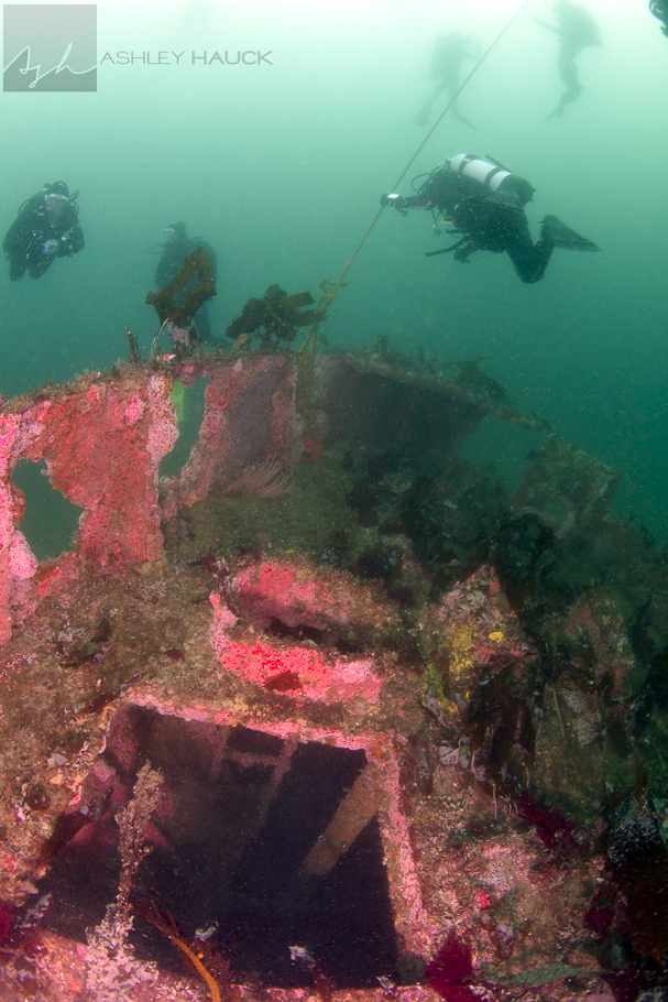 Hatch to crew berths and divers on the bowline of the Ruby E wreck.