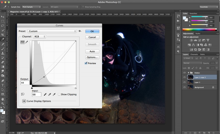 Using Curves to adjust contrast and blend shadows.