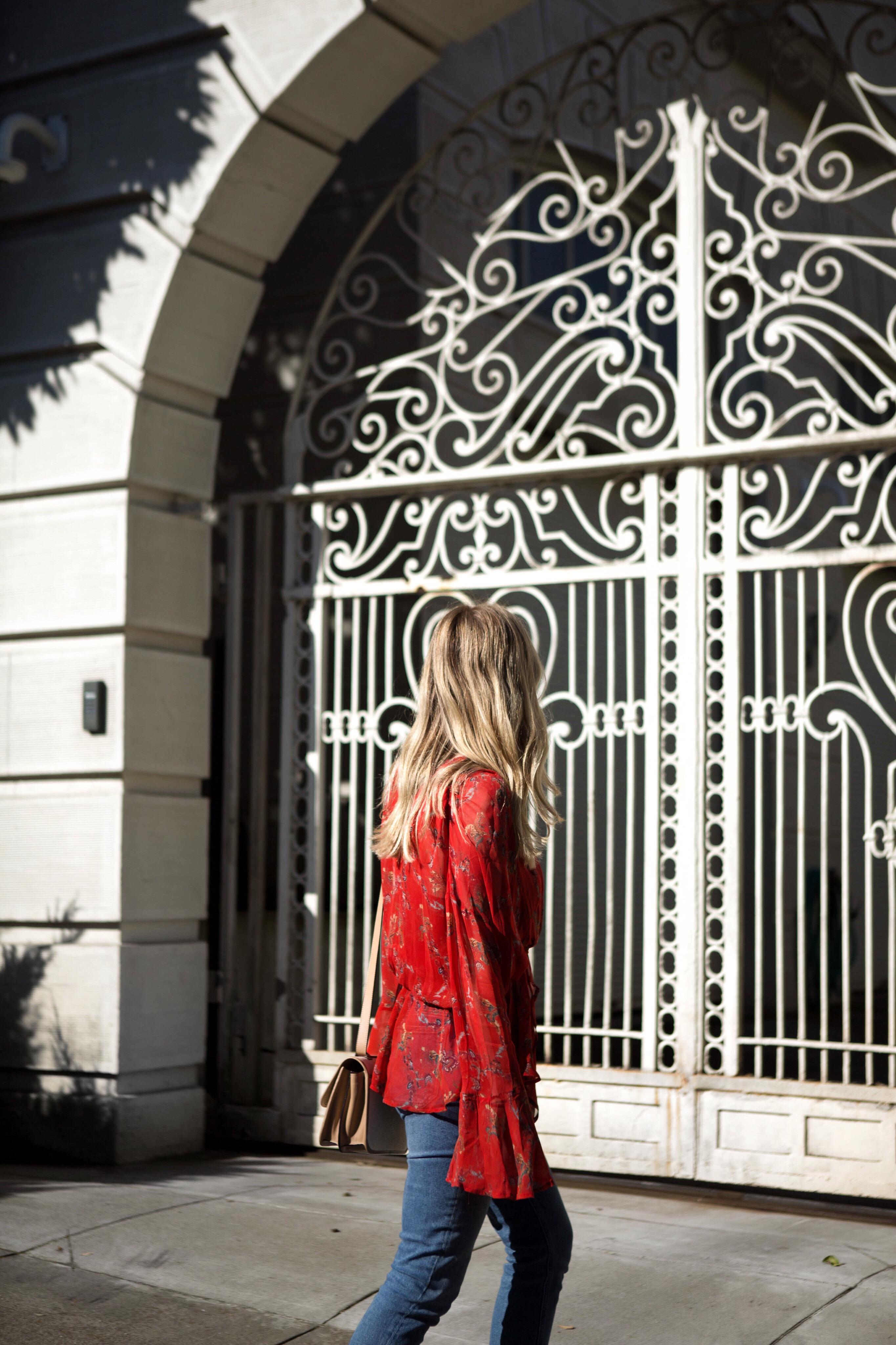 ashley kane IRO red blouse spring style