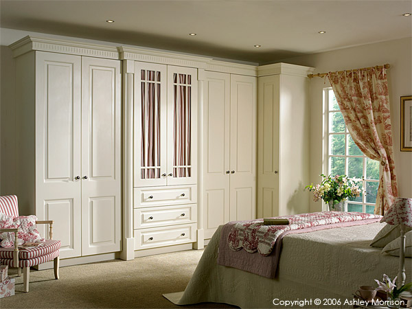 Prague-Ivory bedroom doors by OS Doors Ltd with French fabrics known as 'toile de jouy' and 'ticking'