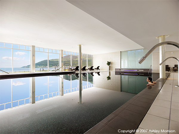 The swimming pool at the Slieve Donard Resort & Spa Hotel in the County Down town of Newcastle.