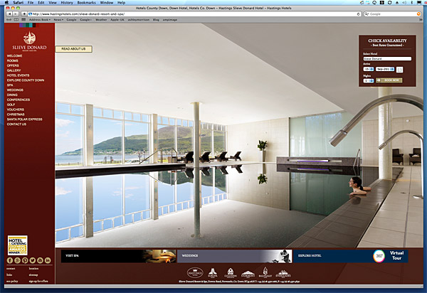 Page on Hastings Hotel's website about the Spa at Slieve Donard Hotel in County Down.