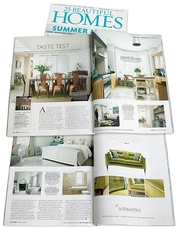 Pages 110 to 112 in the August 2014 issue of 25 Beautiful Homes magazine