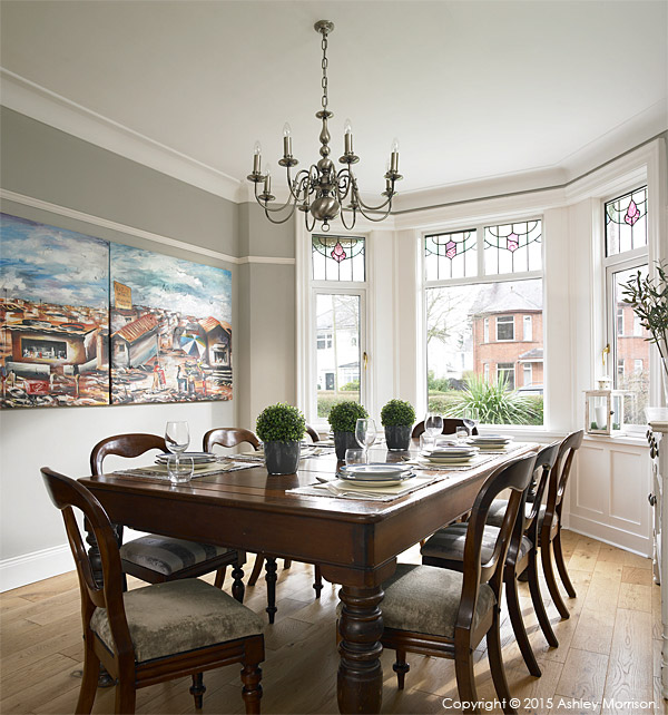 The dining room in Megan Edgar's 1920's detached house near Stormont Park in Belfast.