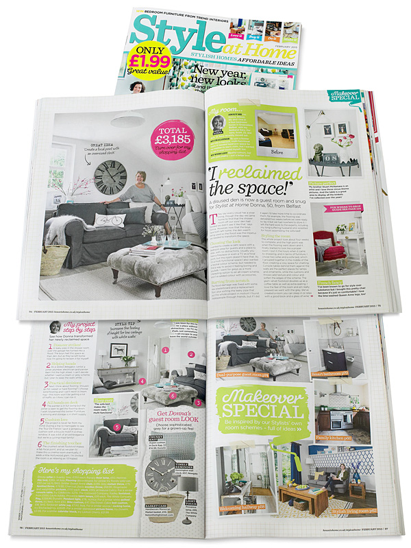 Pages 74 to 76 in the February 2015 issue of Style at Home magazine featuring Donna Wilson's guest room above her garage near Greenisland in County Antrim