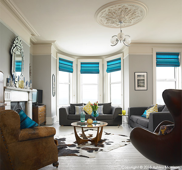The sitting room of Keri Johnston's townhouse which overlooks Ballyholme Bay in the County Down seaside town of Bangor.