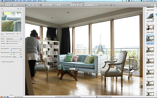 One of the first pictures taken in the sitting room area of Charlotte Hamel's modern apartment in Dublin.