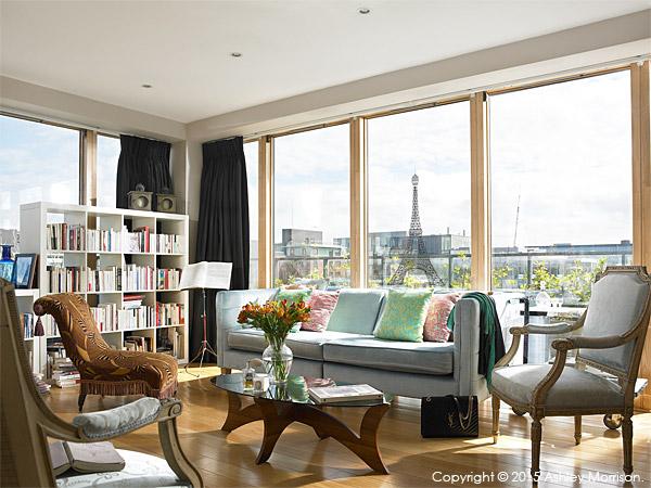The sitting room in Charlotte Hamel's modern apartment in Dublin.