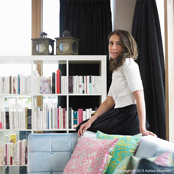 Charlotte Hamel in her modern apartment in Dublin.
