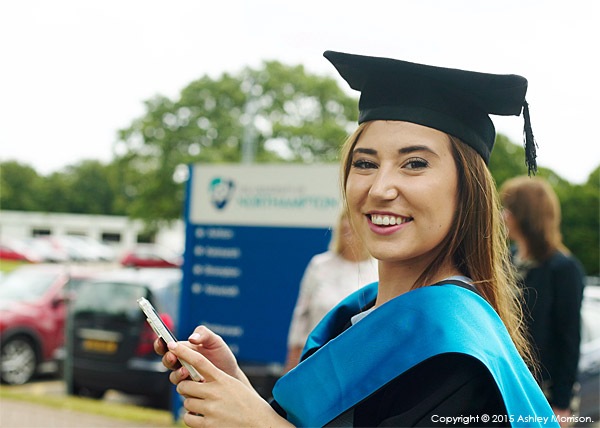 Chloe Morrison at the University of Northampton during the Graduation Award Ceremony in July 2015.
