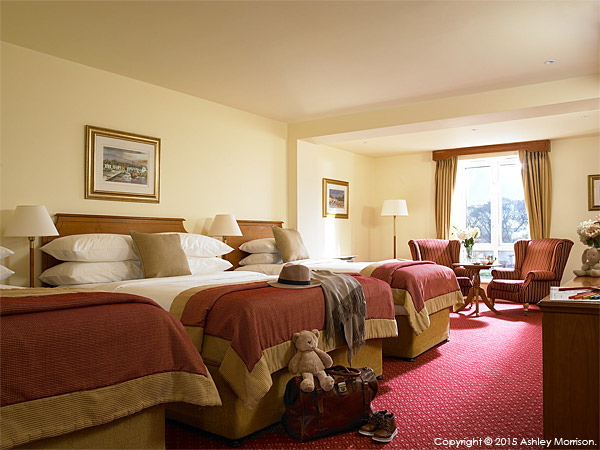 The family bedroom at the Galway Bay Hotel on the promenade at Salthill.