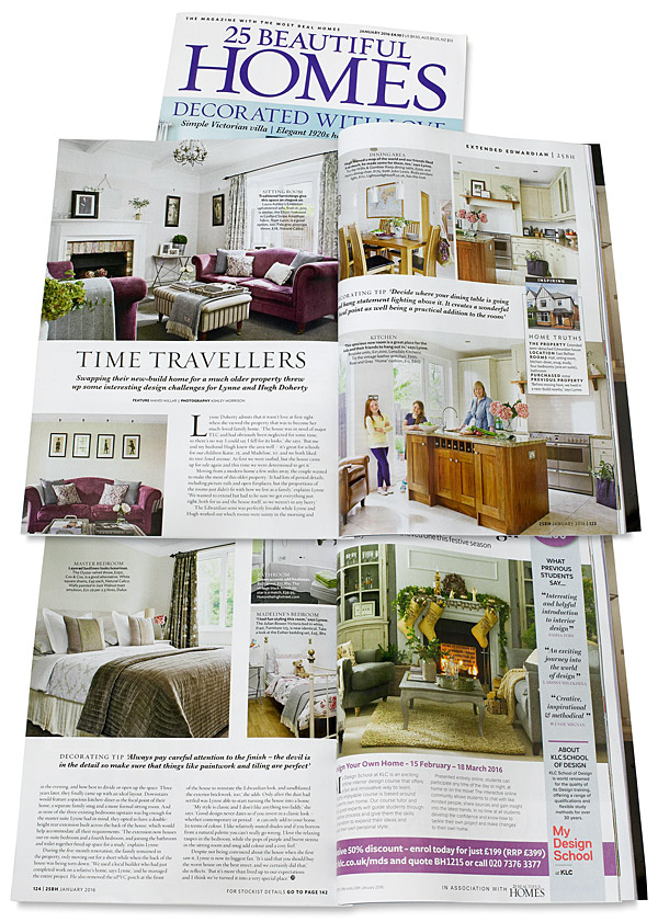 Pages 122 to 124 in the January 2016 issue of 25 Beautiful Homes magazine featuring Lynne & Hugh Doherty's 1940's semi-detached house in the Belmont area of Belfast.