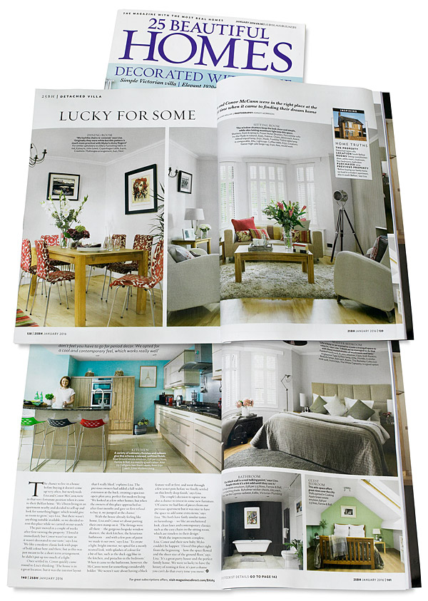 Pages 138 to 141 in the January 2016 issue of 25 Beautiful Homes magazine featuring Lisa & Conor McCann's detached house located in Rosetta area of Belfast.
