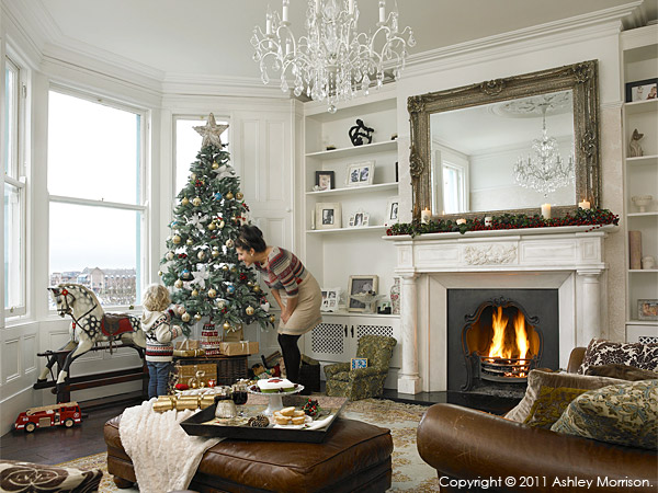 Amanda McGuile with her son at Christmas time in their Victorian terrace which overlooks Bangor Marina in County Down.