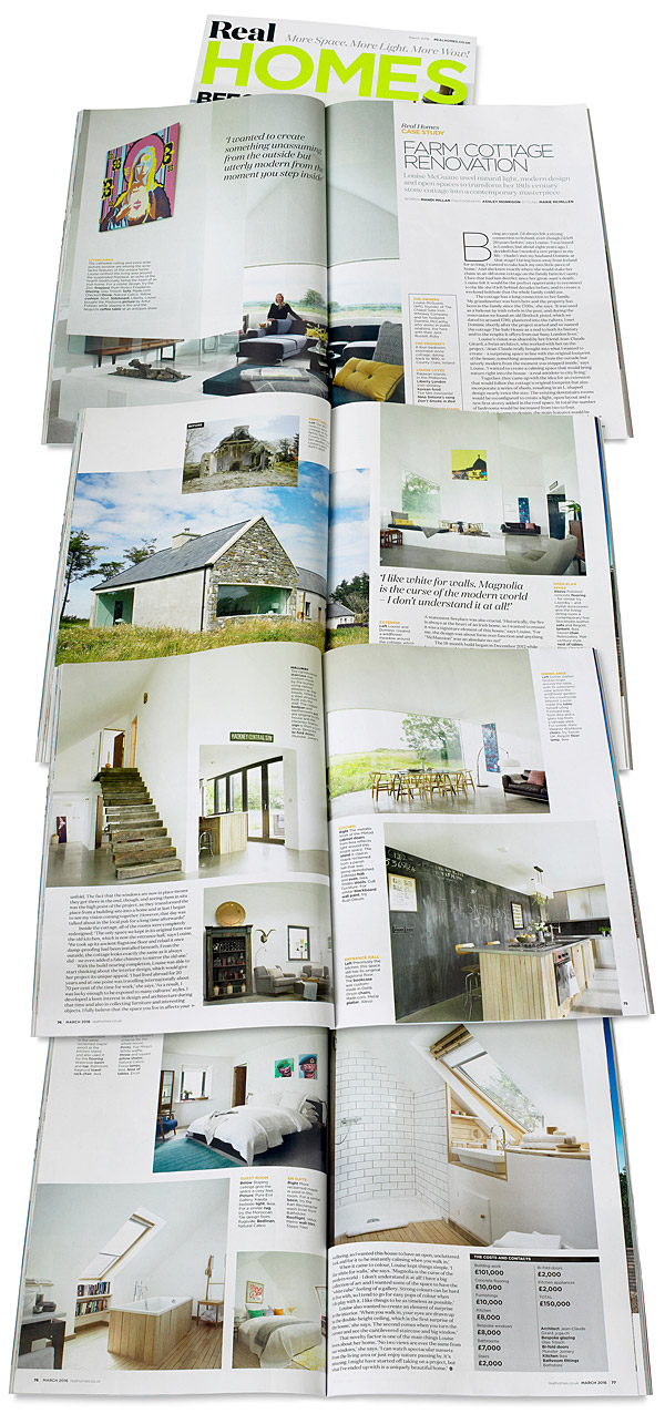 Pages 70 to 77 in the March 2016 issue of Real Homes magazine featuring Dominic & Louise McGuane's renovated farmhouse called 'The Safe House' near the village of Cooraclare in County Clare.