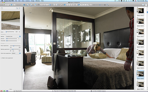 Behind the scenes during the shoot in the Junior Suite bedroom at Killarney Park Hotel in the Irish County of Kerry.