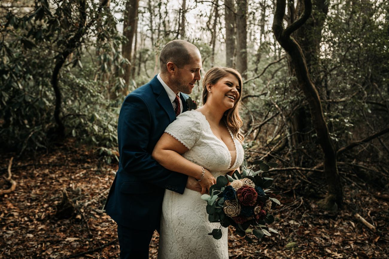 intimate-wooded-wedding-bride-groom