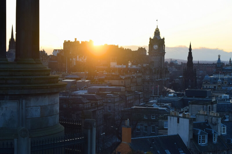 Sunset on Calton Hill Edinburgh