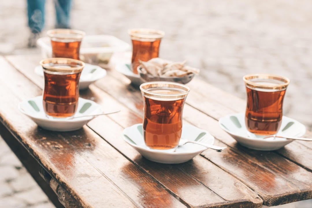 Cups of tea on a table in Istanbul, Turkey