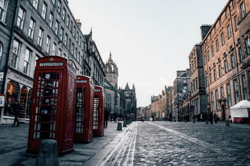 Red phone booths along the Royal Mile in Edinburgh, Scotland